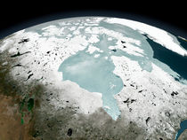 Hudson Bay sea ice on April 29, 2006. by Stocktrek Images