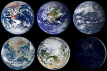 Image comparison of iconic views of planet Earth. by Stocktrek Images