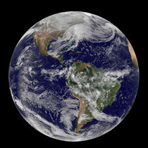 Full Earth showing a powerful winter storm. by Stocktrek Images