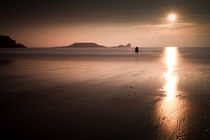 Sunset and wet sand at Worms Head by Leighton Collins