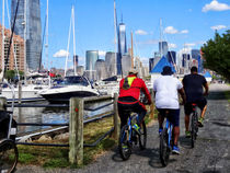 Three Bicyclists By Liberty Landing Marina von Susan Savad