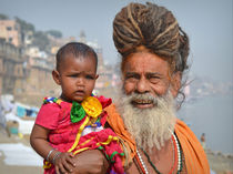 Sadhu with Little Girl by Matt Hahnewald