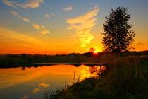 Suburban pond at sunset by Yuri Hope