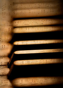 Piano keys and sheet music by Steve Ball