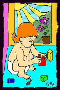 Kleines Kind mit Bauklötzchen von lela