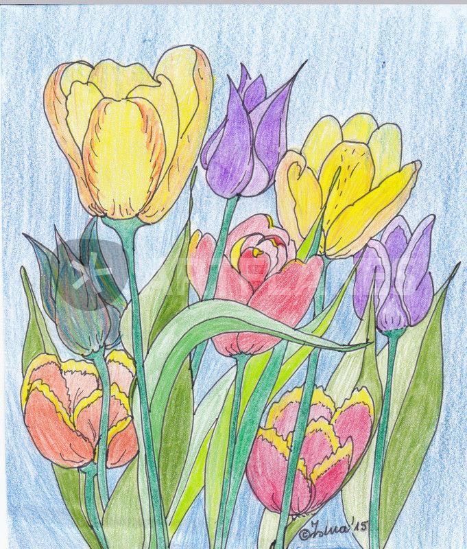 gemalte tulpen malerei als poster und kunstdruck von isma bestellen artflakes com. Black Bedroom Furniture Sets. Home Design Ideas