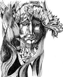 Kopf mit Blattschmuck I von Eberhard Schmidt-Dranske