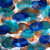 Blue Gray Orange Ovals von Heidi  Capitaine