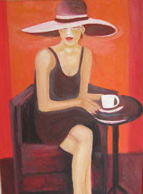Frau beim Kaffeeklatsch  by rita-markgraefe