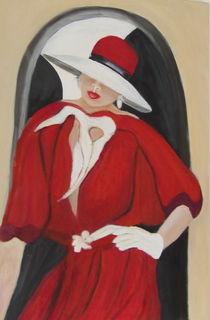 Frau mit rotem Kleid und Hut  by rita-markgraefe