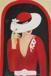 Frau mit weißem Hut  by rita-markgraefe