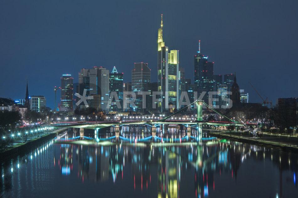 skyline frankfurt am main nachts fotografie als poster und kunstdruck von klaus tetzner. Black Bedroom Furniture Sets. Home Design Ideas