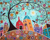 Houses Barn Birds & Swirl Tree by Minocom Art Gallery