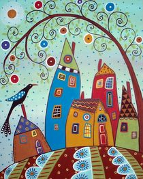 Swirl Tree Bird & Houses by Minocom Art Gallery