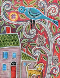 Owls and Dog by Minocom Art Gallery