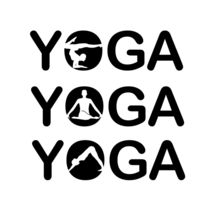 Yoga text with silhouette of people  von Shawlin I