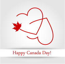 Love for Canada card with maple leaf and red hearts  by Shawlin Mohd