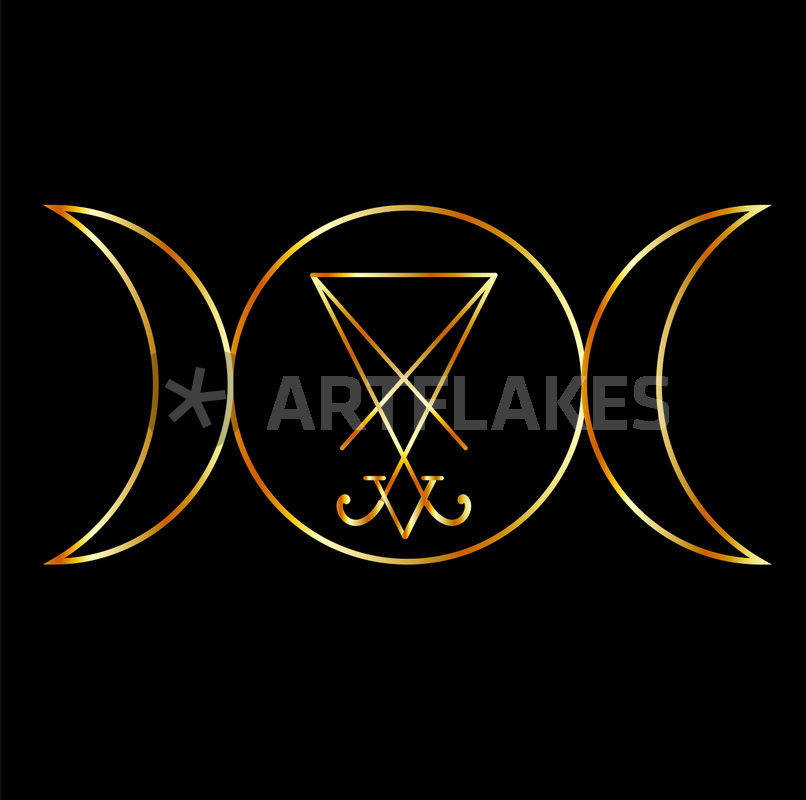 Wiccan Symbol Triple Goddess With Sigil Of Lucifer Picture Art