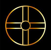 Golden southern cult solar cross symbol  by Shawlin Mohd