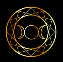 Gold Wiccan symbol Triple Goddess  by Shawlin Mohd