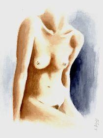 Weiblicher Torso - erotisches Aquarell von Marita Zacharias