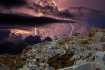 The storm in Santorini by Yuri Hope