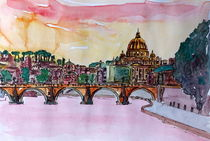 Vatican Rome Italy Sunset On River Tiber With St Peter I by M.  Bleichner