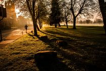 Jogger at Sunrise South Inch Perth von Les Mitchell