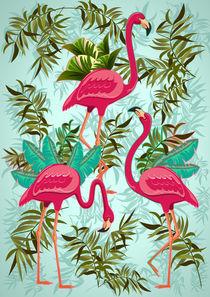 Pink Flamingos Exotic Birds by bluedarkart-lem