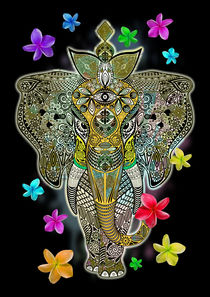 Elephant Zentangle Doodle Art  von bluedarkart-lem