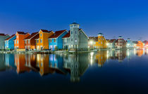 Groningen Jachthafen Panorama Nacht Niederlande Holland von Dennis Stracke