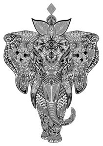 Elephant Zentangle Doodle Black and White von bluedarkart-lem