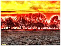 Surreal Red Orange Landscape by Sandra  Vollmann