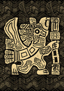 Aztec Eagle Warrior Grunge Bas-relief by bluedarkart-lem