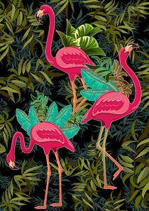 Pink Flamingos on Green von bluedarkart-lem