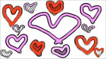 red and pink heart shape with white background by timla