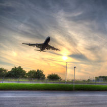 Boeing 747 Sunset Landing by David Pyatt
