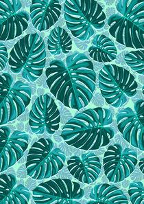 Tropical Leaf Monstera Plant Pattern von bluedarkart-lem