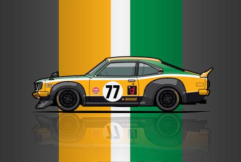 Illu-mazda-savanna-gt-racing-katayama-poster
