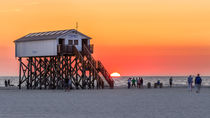 Sonnenuntergang St Peter Ording Nordsee Strand by Dennis Stracke