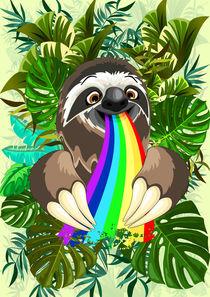 Sloth Spitting Rainbow Colors by bluedarkart-lem