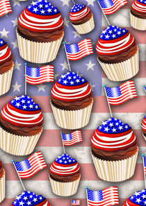USA Flag Cupcakes Pattern   by bluedarkart-lem