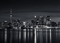 Toronto Skyline At Night From Polson St No 2 Black and White Version von Brian Carson