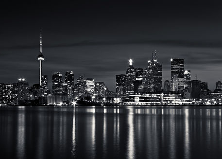 Toronto-skyline-at-night-from-polson-st-no-2-black-and-white-5x7