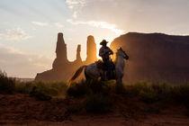Cowboy, Reiter mit Pferd im Licht der untergehenden Sonne, Monument Valley, Tsé Bii? Ndzisgaii, Navajo Nation Reservation, Arizona, USA von geoland