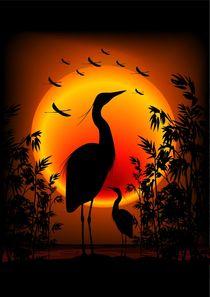 Heron Shape on Exotic Zen Sunset by bluedarkart-lem