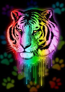 Tiger Neon Dripping Rainbow Colors  by bluedarkart-lem