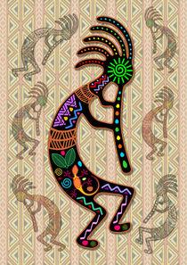 Kokopelli Rainbow Colors on Tribal Pattern  by bluedarkart-lem