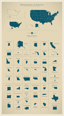 Modern BIG map of USA with all states by Ingo Menhard