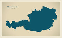 Austria Modern Map by Ingo Menhard
